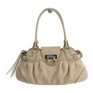 Salvatore Ferragamo Gancini AU-21 6317 Women's Leather Tote Bag Light Beige