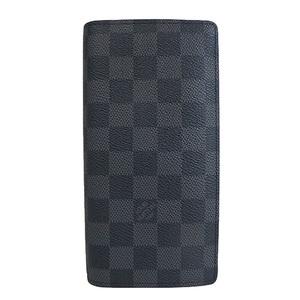 Auth Louis Vuitton Damier Graphite Portefeuille Brazza N62665 al157