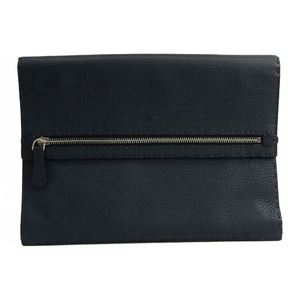 Fendi Selleria 7AV376 Men,Unisex Leather Clutch Bag Navy