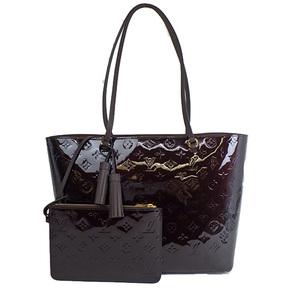Auth Louis Vuitton Vernis Long Beach MM M90475 Tote Bag Amarante al134