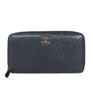 Auth Chanel Camellia Round Zip Leather Long Wallet al176