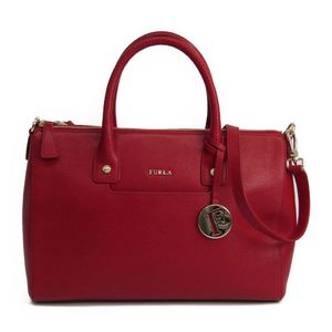 Furla Linda M Satchel Women's Leather Handbag Red