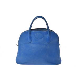 Hermes Bolide Women's Courchevel Leather Handbag Blue
