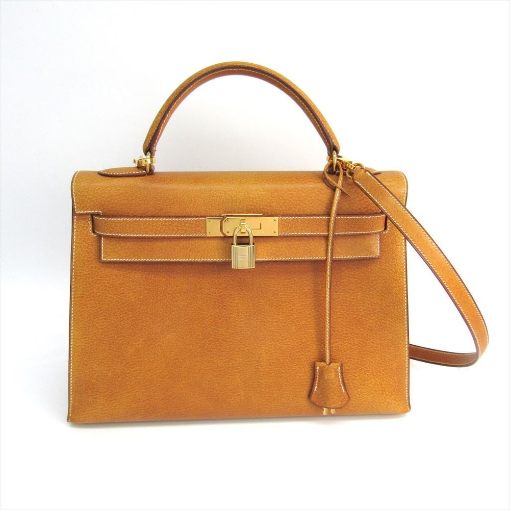 Hermes Kelly 32 Women s Leather Handbag Saffron 78d0632997