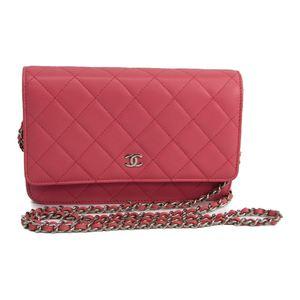 Chanel Matelasse Chain Wallet  A33814 Women's  Lambskin Chain/Shoulder Wallet Pink
