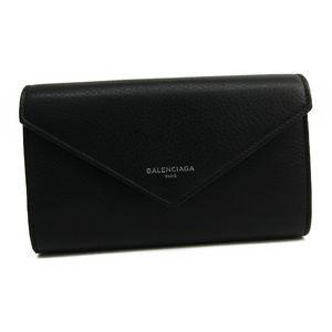 バレンシアガ(Balenciaga) ペーパー マニー 371661 レディース  カーフスキン 長財布(二つ折り) ブラック