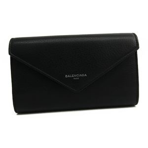 Balenciaga PAPER ZA MONEY 371661 Women's  Calfskin Long Wallet (bi-fold) Black