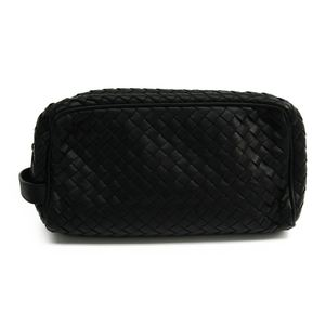 Bottega Veneta Intrecciato 174361 Leather Clutch Bag Black