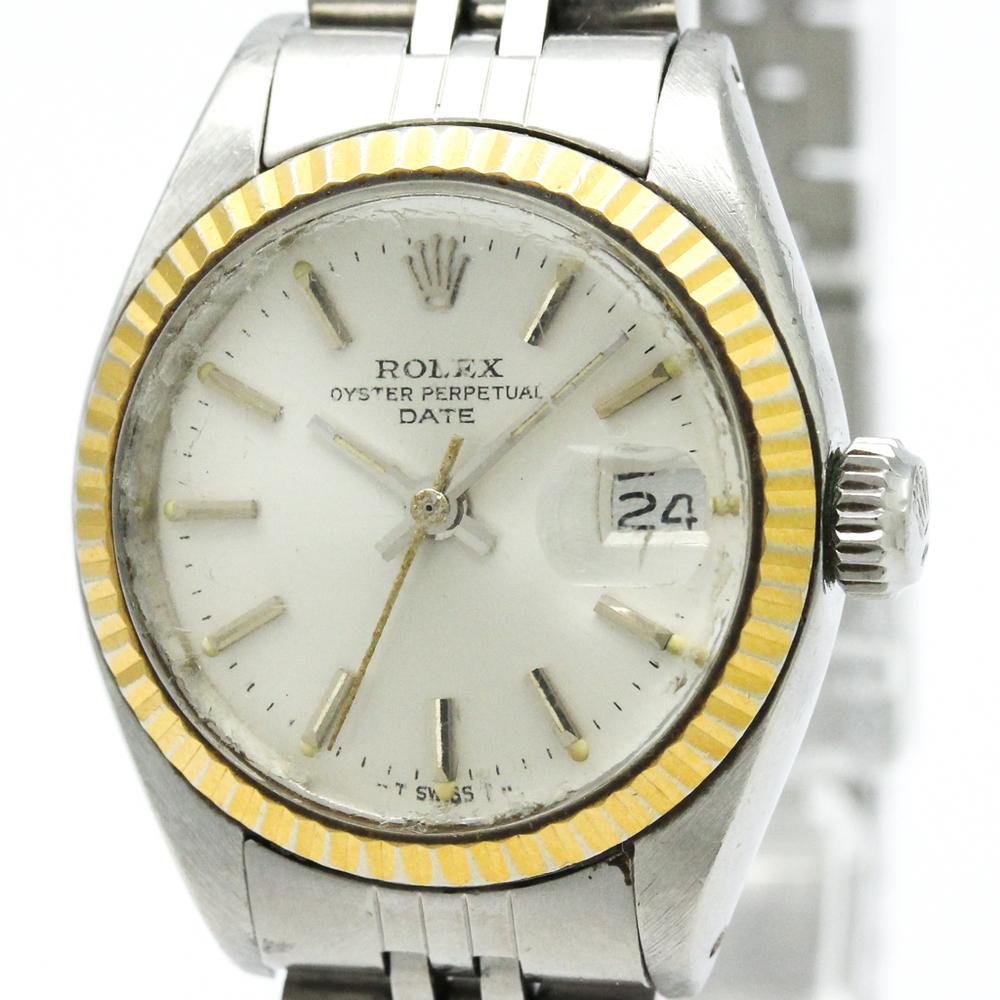 ロレックス(Rolex) オイスターパーペチュアル デイト 自動巻き ステンレススチール(SS),K18イエローゴールド(K18YG) レディース ドレスウォッチ 6917