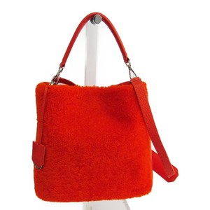 Fendi Anna Small 8BT218 Women's Leather Shoulder Bag Orange