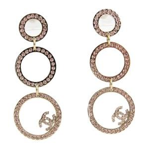 シャネル(Chanel) ココ メタル,ラインストーン ドロップピアス シャンパンゴールド,ライトピンク