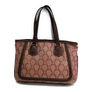 Celine Macadam Women's Coated Canvas Leather Tote Bag Brown,Pink
