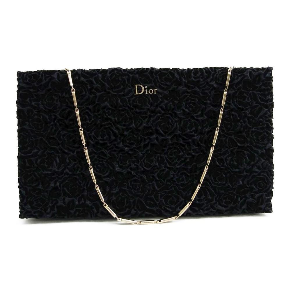 クリスチャン・ディオール(Christian Dior) ベルベット イブニングバッグ ネイビー