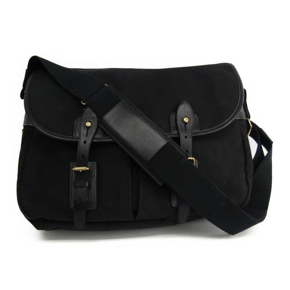 f682f38201af Ralph Lauren Men s Canvas Leather Shoulder Bag Black