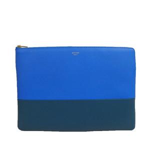 Auth Celine バイカラー Bicolor Leather Bag Blue,Blue Green za31