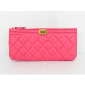 シャネル(Chanel) マトラッセ レディース レザー ポーチ ピンク ボーイシャネル マトラッセポーチ ポーチ財布 クラッチバッグ
