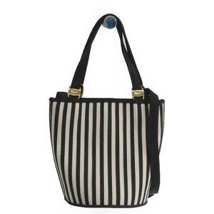 Salvatore Ferragamo Vara BC216184 Women's Nylon Canvas Handbag Black,White