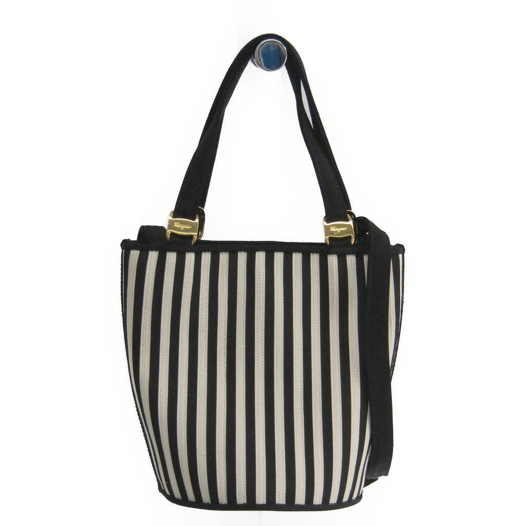 b9c9396918 Details about Salvatore Ferragamo Vara BC216184 Women s Nylon Canvas  Handbag Black