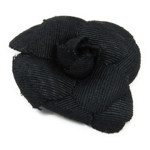 Chanel Camellia Canvas Corsage Black