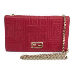 Fendi 8M0219 Women's Leather Chain/Shoulder Wallet Red