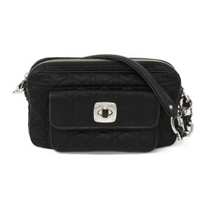 Christian Dior Canage/Lady Dior Nylon,Leather Shoulder Bag Black