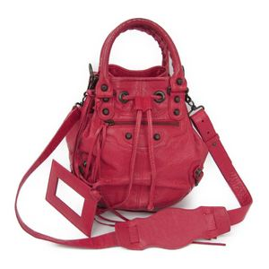 Balenciaga MINI POMPON 246438 Women's Leather Handbag Pink Red