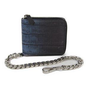 フェンディ(Fendi) 7M0197 メンズ  型押しレザー 財布(二つ折り) ブラック,ブルー
