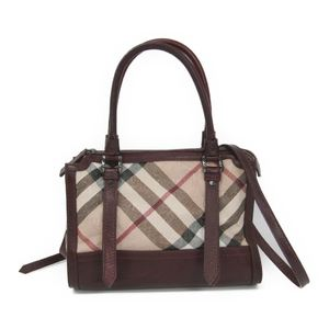 Burberry PVC,Leather Handbag Beige,Bordeaux Brown