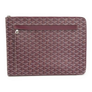 Goyard Sorbonne Leather,Canvas Clutch Bag,Document Case Bordeaux