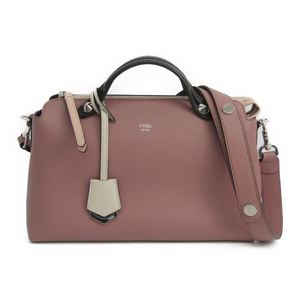 Fendi By The Way 8BL124 Women's Leather Handbag Rose Pink,Dark Brown