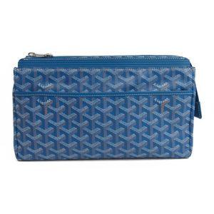 Goyard MIROIR GM Unisex Canvas Leather Clutch Bag,Pouch Blue