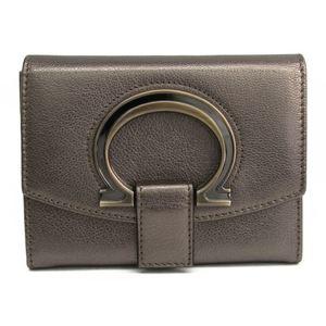 Salvatore Ferragamo Gancini 22 B018 Women's Leather Wallet (bi-fold) Metallic Bronze