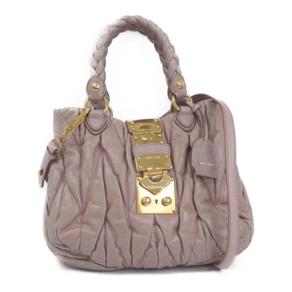 aad6fd35dbd3 Details about Miu Miu Matelasse Women s Leather Handbag Pink BF320623