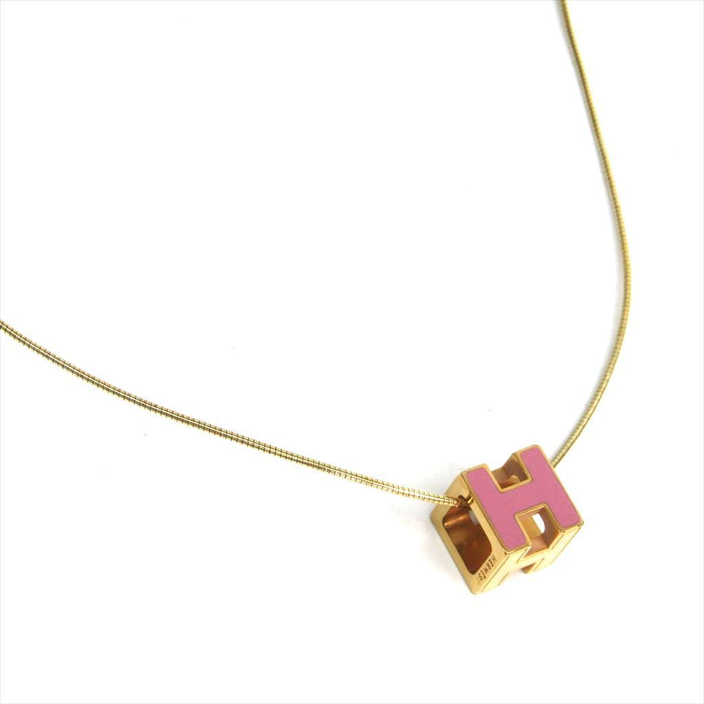 Details about Hermes Cage D'h Metal Women's Casual Necklace (Pink,Gold) BF320264