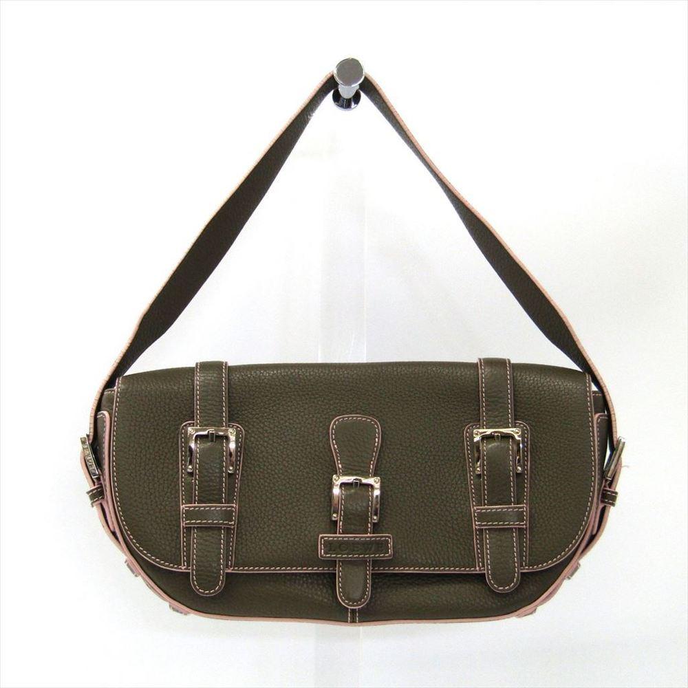 Loewe Senda Women's Leather Shoulder Bag Khaki Brown