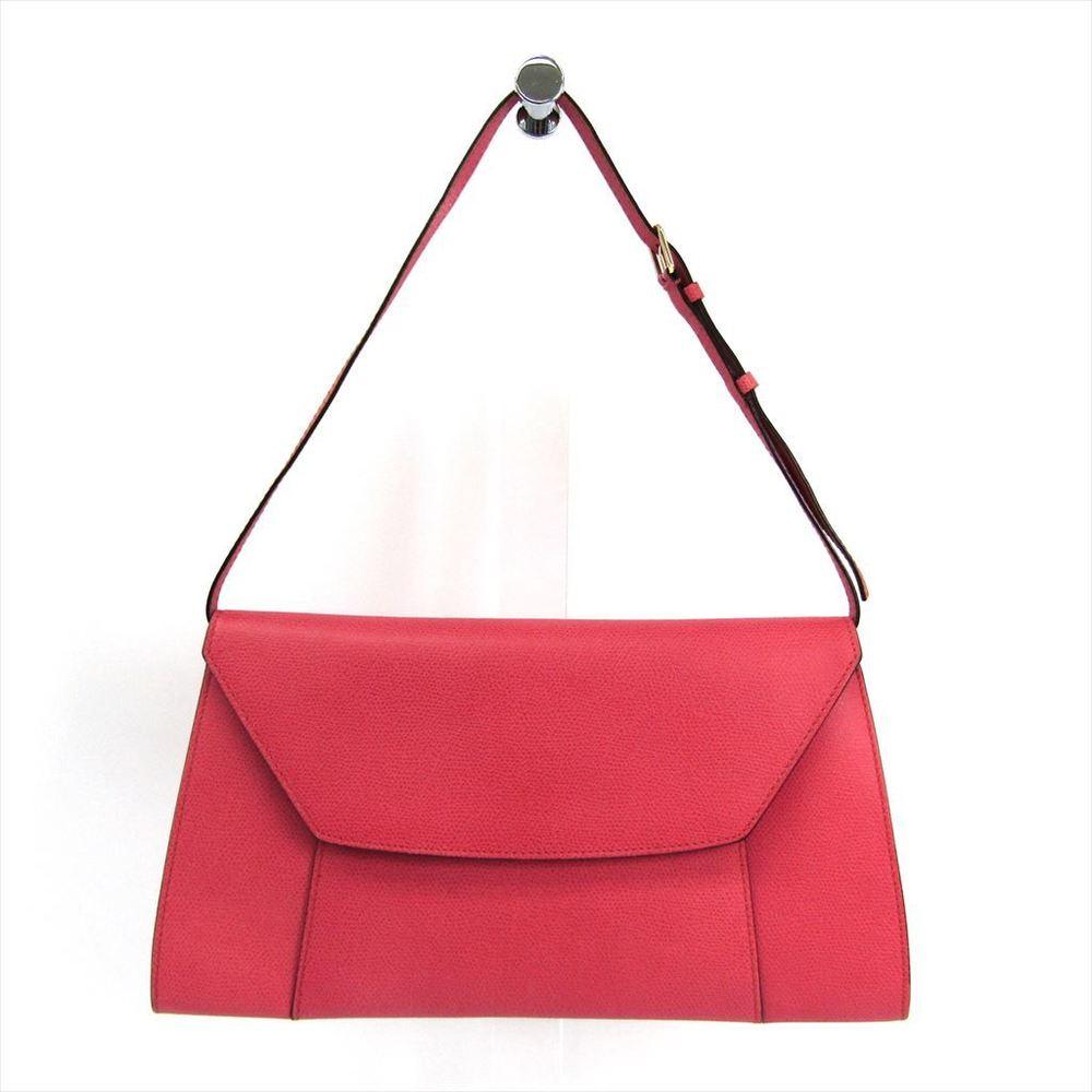 Valextra V5C47 Women's Leather Clutch Bag,Shoulder Bag Pink