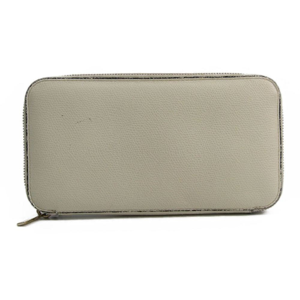 Valextra V9L06 Unisex  Embossed Leather Long Wallet (bi-fold) White
