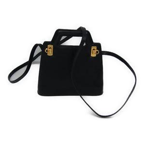 Salvatore Ferragamo Gancini BA211715 Women's Leather Shoulder Bag Dark Navy