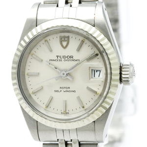 Tudor Princess Oyster Date 18K White Gold Steel Watch 92414N