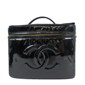Auth Chanel Coco Mark Patent Leather Vanity Bag 2way al758