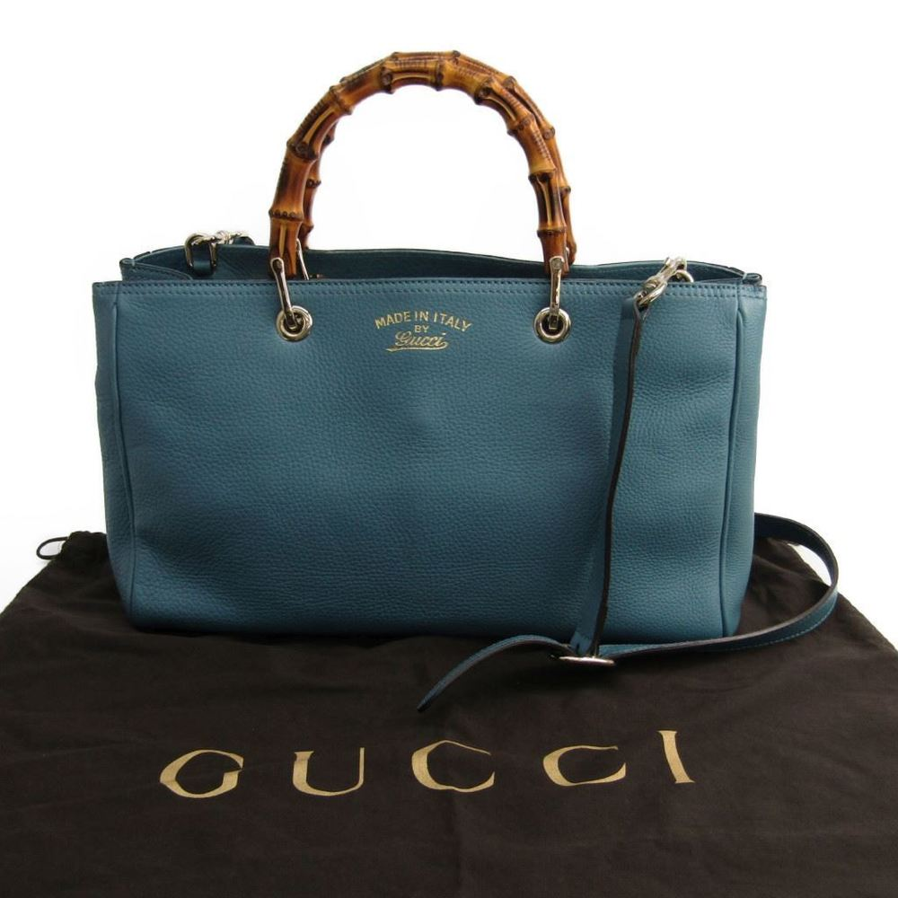 487df2f2ffa Gucci Bamboo Shopper Medium 323660 Women s Leather Tote Bag Blue
