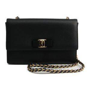 Salvatore Ferragamo Vara GU-21 E480 Women's Leather Shoulder Bag Black