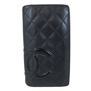 Auth Chanel Cambon Leather Long Wallet A26717 al800