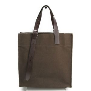 Hermes Etriviere Shopping Unisex Canvas Leather Tote Bag Khaki Brown