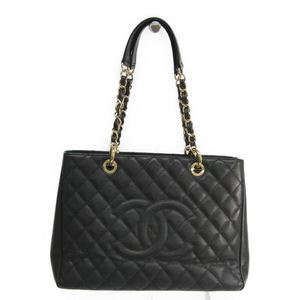 Chanel Caviar Skin Grand Shopping Tote GST A50995 Women's Leather Shoulder Bag Black
