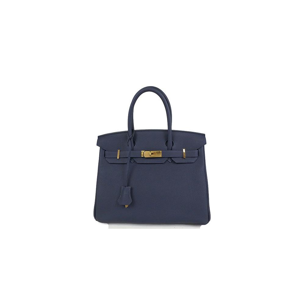 5bdb04b90269 Auth Hermes Birkin Birkin30 Togo Handbag Blue Nuit al842