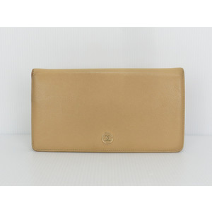 Chanel Coco Button Unisex,Men Leather Bill Wallet (bi-fold) Light Brown