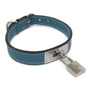 Hermes Kelly Dog Collar Togo Leather Blue Jean