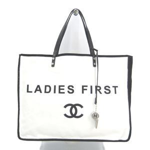 Chanel A92885 Women's Canvas Leather Tote Bag White,Black