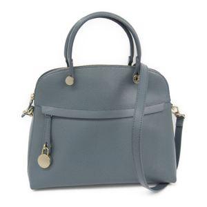 Furla Piper M Women's Leather Handbag Light Blue Gray